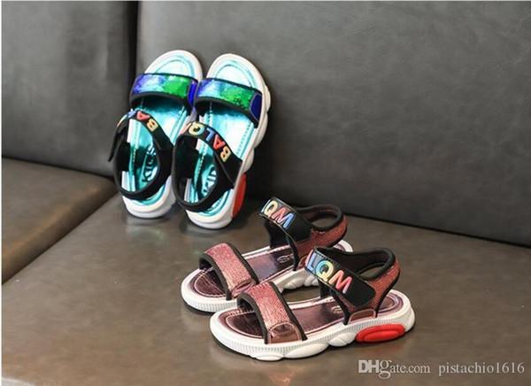 Enfants Chaussures Fille J19116 2019 Nouvelle Princesse Paillettes Appartements Mariage Sandales Pour Enfants Or Rose Sliver Toddler Bébé Perle Chaussures