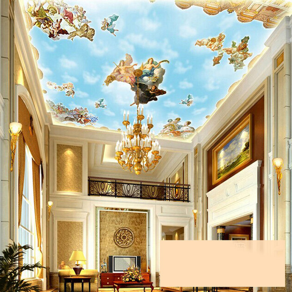 Large Custom European Style Angel Ceiling Mural Wallpaper Hotel Living Room Restaurant Luxury Decor Ceiling Frescoes Wall Paper