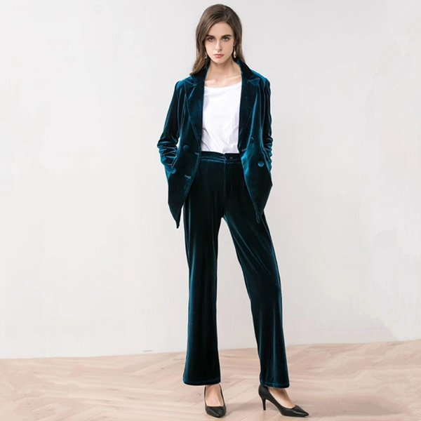 Chic Blue Velvet Double Breasts Velvet Blazer Woman Suits Double Pockets Turn Down Collar V-Neck Jacket Notched Tops