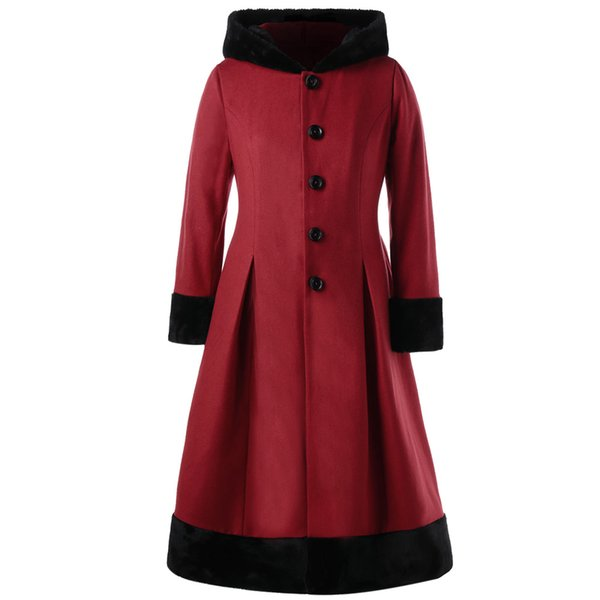 AZULINA Winter Wool Coat Women Plus Size 5XL Faux Fur Hooded Long Sleeves Dress Coats New Fashions Casual Slim Outerwear On Sale