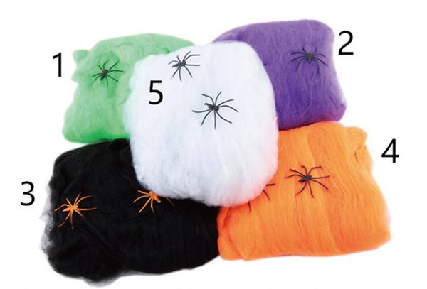 5 Renk Yeni Korkunç Korkunç Örümcek Web Örümcek Ağı Bar Perili Ev Sahne Dikmeler Dekor Halloween Party Dekorasyon Tatil DIY L düzenlenen