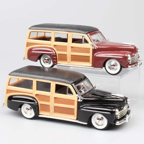 Children's 1/43 Scale Road Signature 1948 Ford Woody Woodie Die Cast Vehicles Replica Vintage Auto Station Wagon Cars Model Toys J190525
