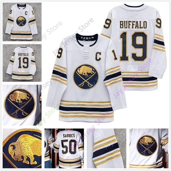 best selling Buffalo Sabres 50th Golded Jersey Jack Eichel Jeff Skinner Rasmus Dahlin Blank Adult Men Size S-3XL All Stitched