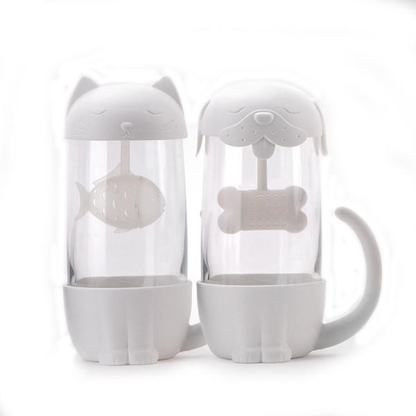 Yaratıcı 300 ml Çay Süzgeci Kedi Köpek Çay Demlik Fincan Otlar kupa Çay Kahve Filtresi Drinkware Için Demlik Teabags Mutfak Aletleri T8190627