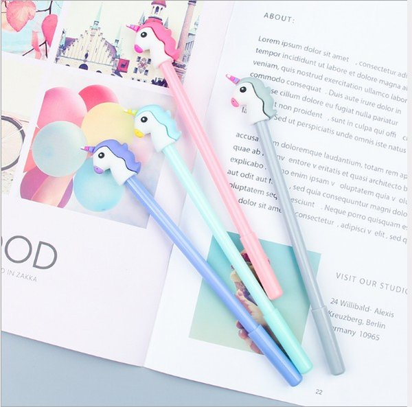 top popular Girl Heart Cartoon Unicorn Student Writing Pen Office Eexamination High Quality Luxury Limited Office Material School Supplies 2019