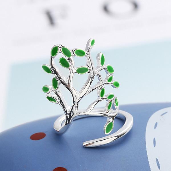 Mais recente de Jóias De Prata Esmalte Em Forma de Árvore Em Forma de Anel Fresco Mulheres de Casamento Acessório de Festa de Noivado