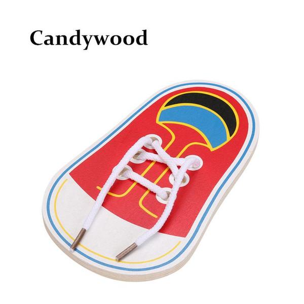 Al por mayor- Nueva llegada Niños Montessori Juguetes educativos Niños Juguetes de madera Zapatos de cordones para niños Educación temprana Montessori Enseñanzas