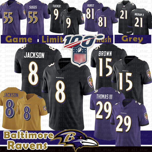 29 earl thomas baltimores 8 lamar jackson raven football jersey 15 marquise brown 9 justin tucker terrell suggs mark ingram ii 21 81 hurst, Black;red