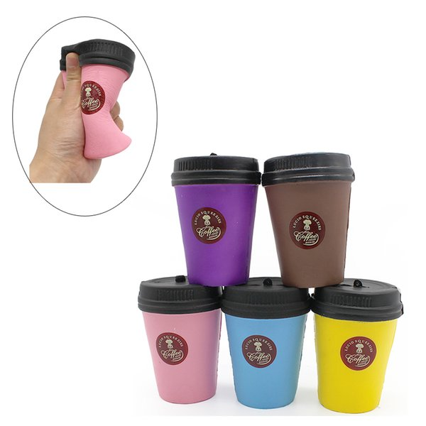 best selling Kawaii Corful Coffee Cup squishy Toys Cup Squishies queeze Vent Cup Simulation Phone Charms Phone Straps Free shipping