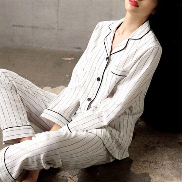 women pajamas set white striped casual cotton long sleeve sleepwear suit 2 piece spring homewear lounge pant suit for women