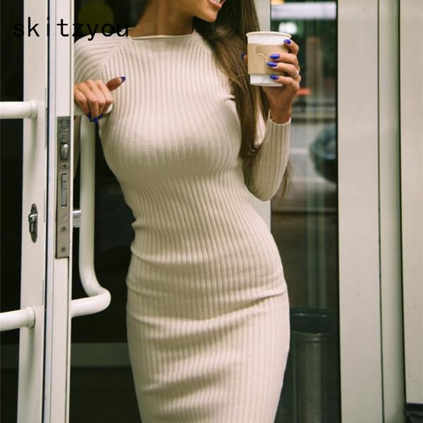 Compre Skitzyou Vestidos Verano Otoño Invierno De Punto De Las Mujeres Vaina Bodycon Vestido Suéter Manga Larga O Cuello Elástico Delgado Vestidos