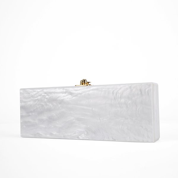 uggage Bags Handbags 2017 White Pearl Long Size Acrylic Box Clutch Bag With Mirror Inside Gold Hardware Handmade Pearl White Evening Acry...
