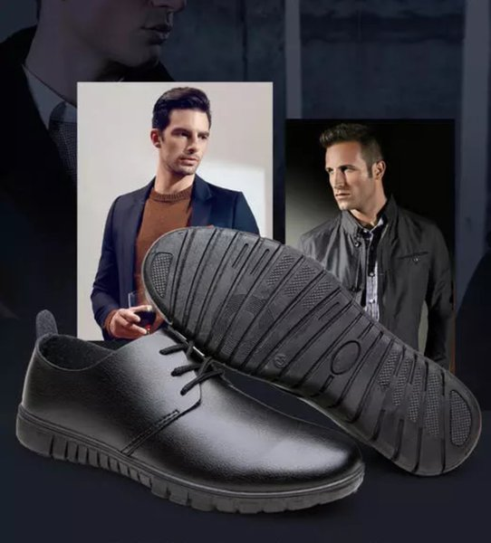 Spring and summer breathable shoes casual shoes British 100 all black waterproof men's shoes Scooter smooth
