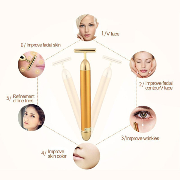 best selling Slimming Face roller 24k Gold Colour Vibration Facial Beauty Roller Massager Stick Lift Skin Tightening Wrinkle Bar