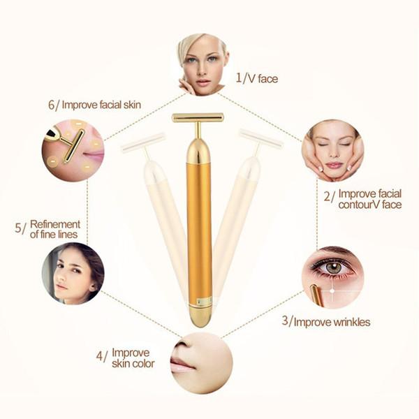 Slimming rullo Volto oro 24k colori vibrazioni facciale di bellezza del Massager del rullo del bastone di sollevamento della pelle di serraggio delle rughe Bar