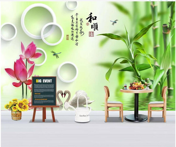 3d wallpaper custom photo mural Bamboo circle swan lotus reflection background home decor 3d wall murals wallpaper for walls 3 d living room