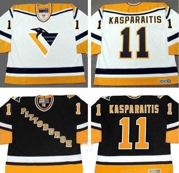 Benutzerdefinierte 11 DARIUS KASPARAITIS Pittsburgh Penguins Jersey 1998 Vintage CCM Schwarz Weiß Home Hockey Trikots mischen