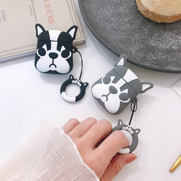 For Apple AirPods 3D Cute Bulldog Dog TPU Case Protective Shockproof Charging Portable Earphone Cover Cases with Ring Holder Couple 100pcs