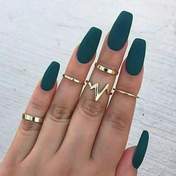 5Pcs/Set Punk Rock Gold Stack Plain Band Midi Mid Finger Knuckle Rings Set for Women Mid Finger Ring Thin Ring Cheap Wholesale
