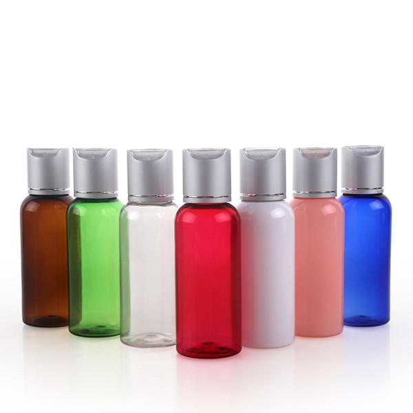 30pcs 50ML bottiglia vuota di plastica Piccolo Foil Cap Lozione Shampoo Bottiglie campione contenitori cosmetici Disco Top Cap Trucco Packaging