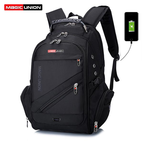 MAGIC UNION Marka Tasarım erkek Seyahat Çantası Adam İsviçre Sırt Çantası Polyester Çanta Su Geçirmez Anti Hırsızlık Sırt Çantası Laptop Sırt Çantaları MenMX190903