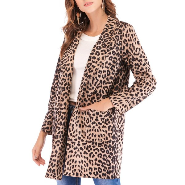 Feitong Leopard Print Brasão Mulheres Cardigan Jacket Moda Marca Vire-down Collar Long Cardigan Inverno Long Sleeve Casacos Outwear