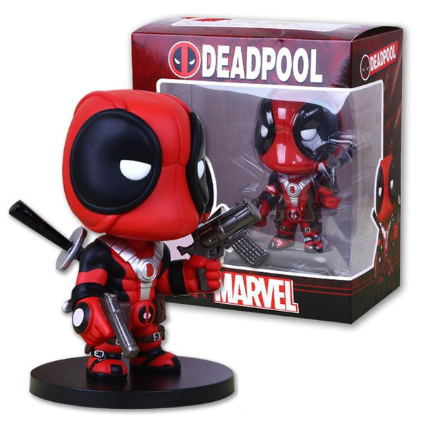 Limited X-men Deadpool Q Version PVC Action Figure Collectible Toy Doll Garage Kits model and car on-board doll kids child gift