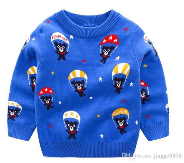 Automne et l'hiver 2019 New Kids'Dress Garçons Parachutisme Ours Jacquard Pull Chemises en jersey Pull de double couche pur coton enfants