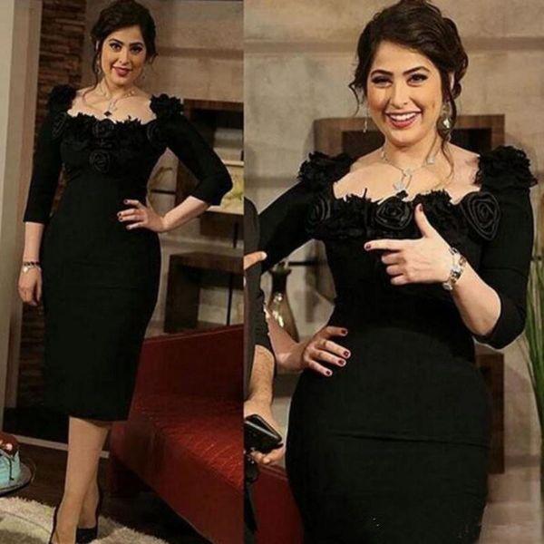 Black Sheath Short Mother of the Bride Dresses 2019 Custom Handmade Flower 3/4 Long Sleeve Knee Length Satin Wedding Guest Dress M055
