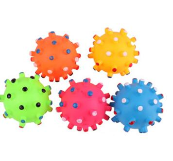 Pet Rubber Ball Chew Toy Dog Cat Molar Teeth Cleaning Toys Puppy Teddy Funny Squeaky Ball Toy