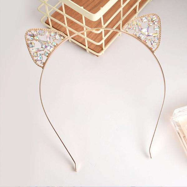 Mulheres Meninas luxo metal Alloy Headband escavar Orelhas de gato Hoop cabelo de luxo colorido Rhinestone Wedding Party Decor Glitter Pho