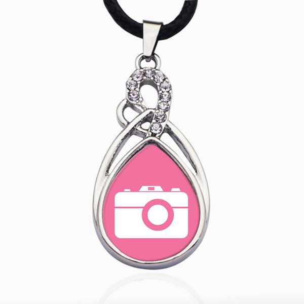 Monili della collana della catena a maglie di cristallo della collana della palla della lega di zinco del fascino della macchina fotografica rosa del cerchio