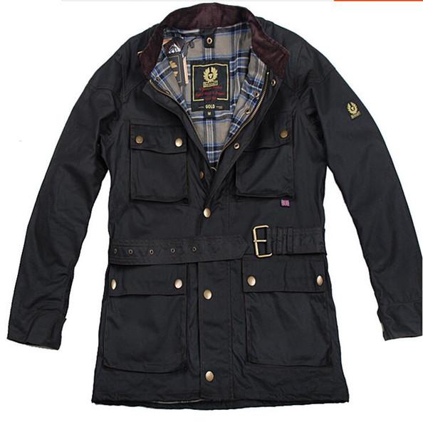 Мужская куртка Европа Америка стиль мода Новое покрытие длинный отрезок водонепроницаемый Сыпучие отворот Чистый цвет с длинным рукавом куртки пальто