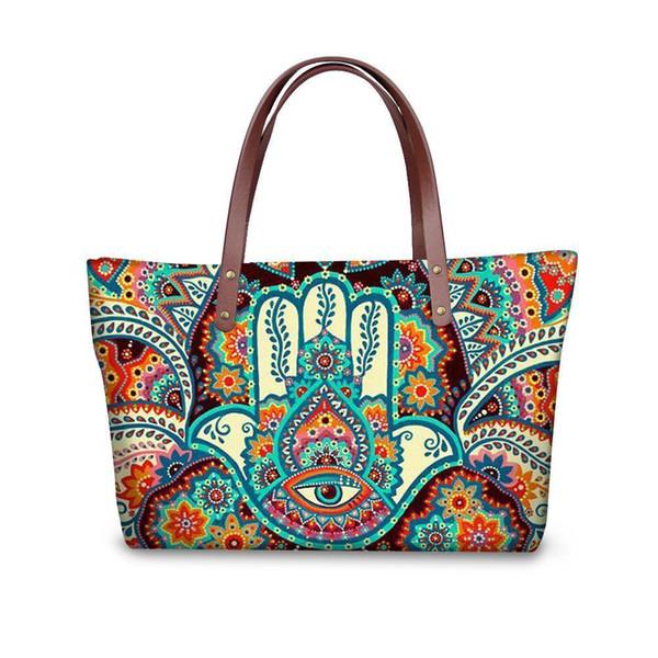 Fatima Hand Printing Women Handbags Casual Handle-Top Shoulder Bags Retro Large Messenger Bag For Lady Wallet