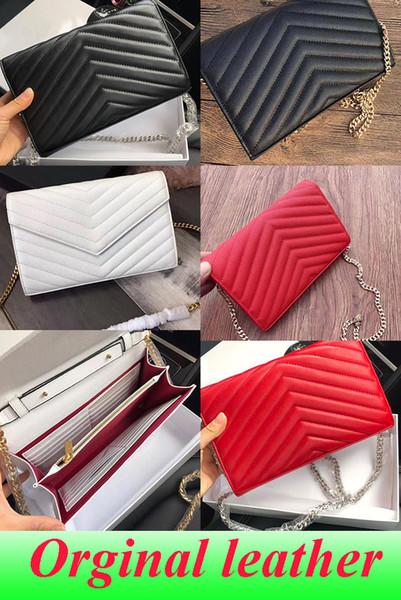 Дизайнерские сумки из овечьей икры с металлической цепочкой золото-серебро Дизайнерские сумки из натуральной кожи Сумка с откидной крышкой по диагонали Сумки на плечо с коробкой