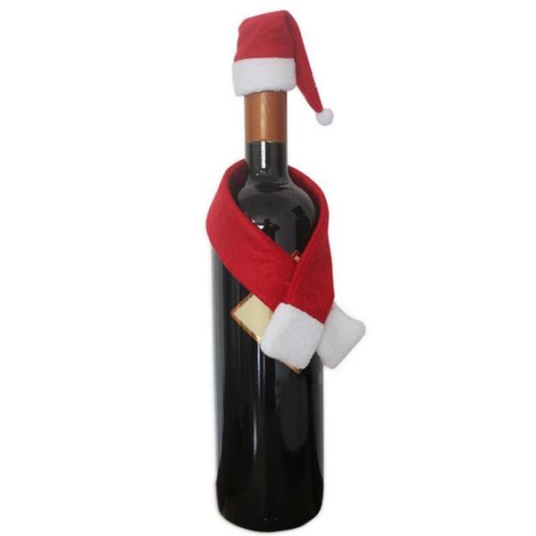 chapéu de Natal Hot garrafa de vinho venda Mini Papai Noel Mini Hat Xmas férias Lollipop Top Topper Tampa Festival DecorWholesale1N11
