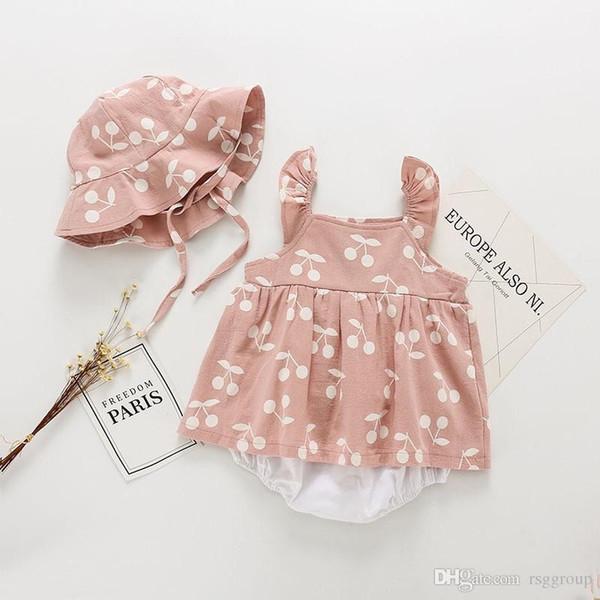 Mamelucos para bebés y niñas pequeños Vestidos de manga larga con cuello cuadrado Vestidos florales Monos con sombrero Conjunto de 2 piezas Niños Niñas Body Bebés Mameluco 0-3T
