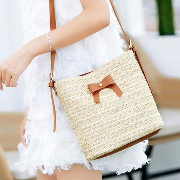 Women Lady Straw Shoulder Crossbody Bag Woven Vintage For Travel Beach Umbrella Money good quality