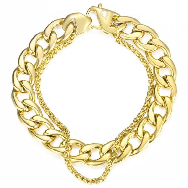 Hip Hop Bracciale da uomo a doppia catena in acciaio inox argento grano cubano catena a maglia braccialetto gioielli maschili Dropshipping Regali DB08