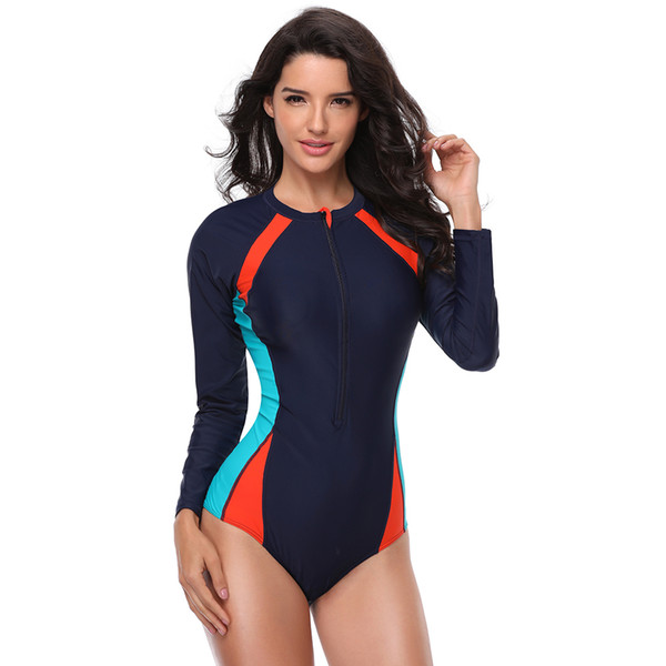 Bikinis 2019 Mujer One Piece Swimsuit Women With Long Sleeve Uv Protection Swimwear Bathing Suit Beach Surfing Plus Size Fused Y19062901