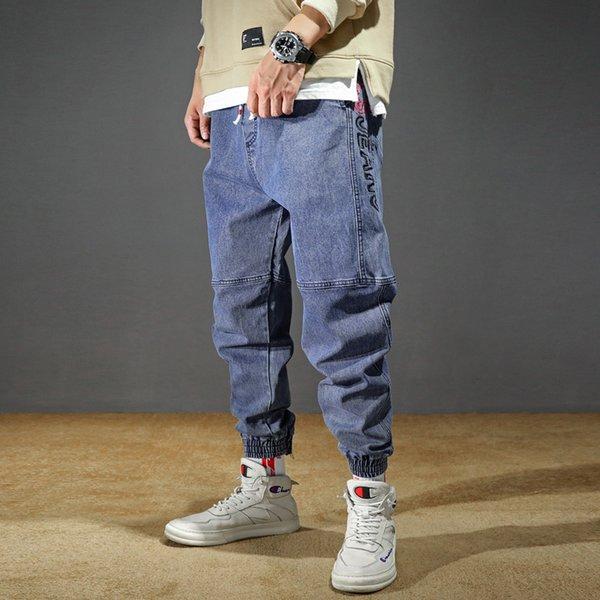 Jeans Plus Size Hommes Stretchy desserrées fuselés Harem Jeans Coton respirant Denim Jeans Baggy Jogger Pantalons Casual 42