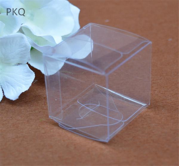 10pcs Mini Plaza transparente de PVC partido de la caja de joyería de caramelo de plástico caja de regalo Borrar Macaron de envases de plástico Cajas