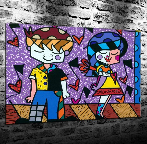 Romero Britto First Love,HD Canvas Print Home Decor Art Painting/Unframed/Framed
