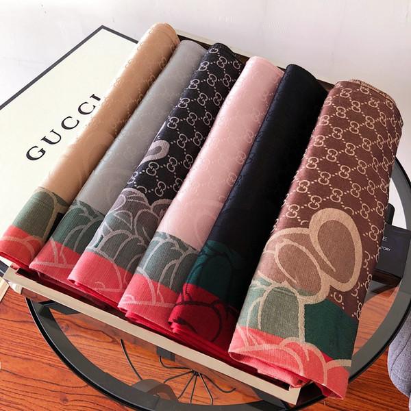 Popular marca cachecol fio-tingido jacquard alfabeto material de algodão longo lenço das mulheres xale tamanho 180 * 70 cm