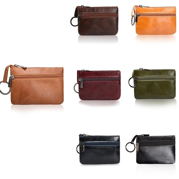 Women Mini Zero Wallet Ladies Double Zipper Genuine Leather Coin Purse Multi Functional Small Coin Credit Card Key Ring Wallet #32352