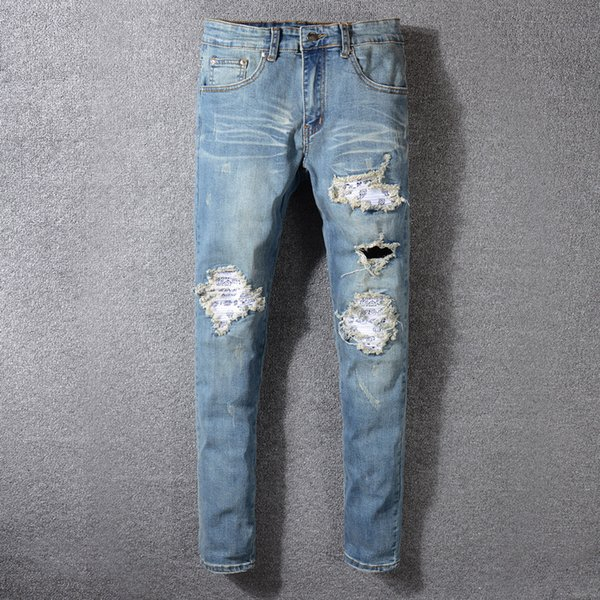 2019 new High street trend hole men's jeans light blue old paint AMIRI punk feet trousers