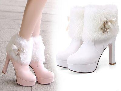 New Arrival Hot Sale Specials Super Fashion Fur Snow Cotton Influx Noble Sweety Martin Cute Knight Bow Platform Heels Ankle Boots EU34-39