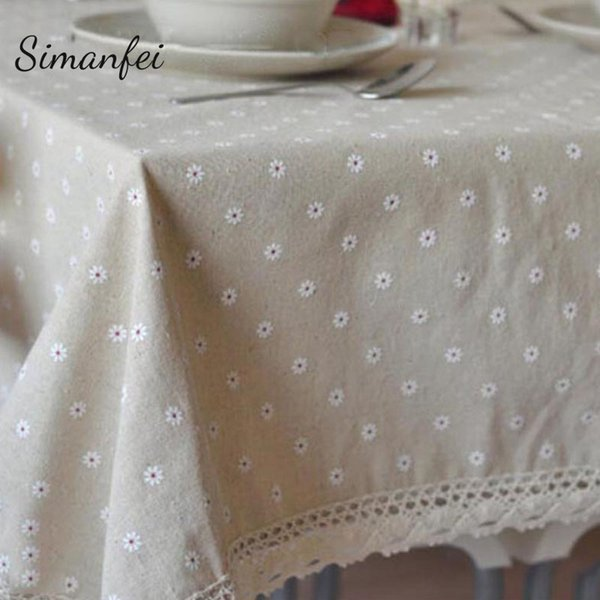 Simanfei 2019 Arrival Nature Pastoralism Dot Flower Pattern Lace Edge Rectangular Table Cloth Hiking Outdoor Party Tablecloths