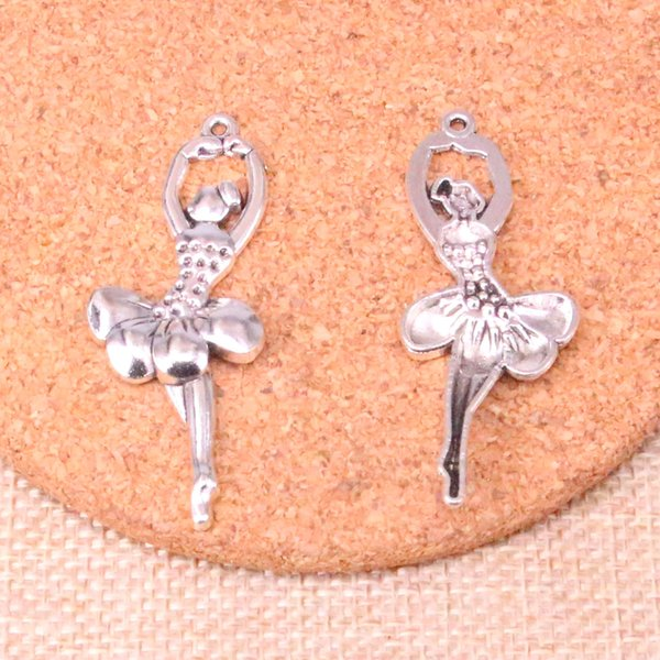 44pcs Charms ballet dancer Antique Silver Plated Pendants Fit Jewelry Making Findings Accessories 51*20mm