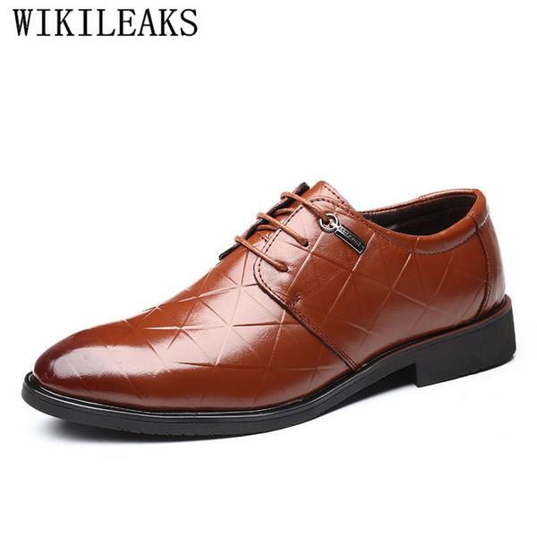 классика мужчины платье обуви оригинальных туфель кожаных OXFORD для мужчин заостренного пальца зашнуровать бизнес повседневной обувь формальных свадьбы люди